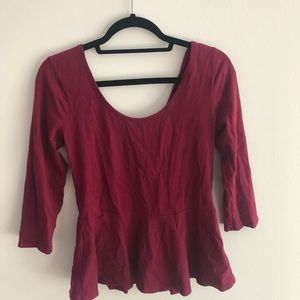 Maroon low back blouse